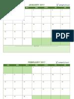 IC 2017 Blank Monthly Calendar Landscape 0
