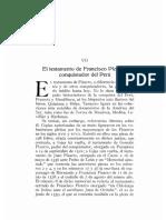 El Testamento de Francisco Pizarro Conquistador Del Peru