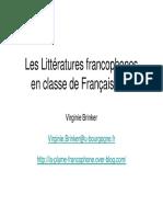 Les Littératures Francophones en Classe de Français- FLE