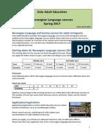Norwegian Language Courses Oslo Vo Spring 2017