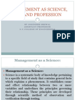 Management as Science, Art and Profession