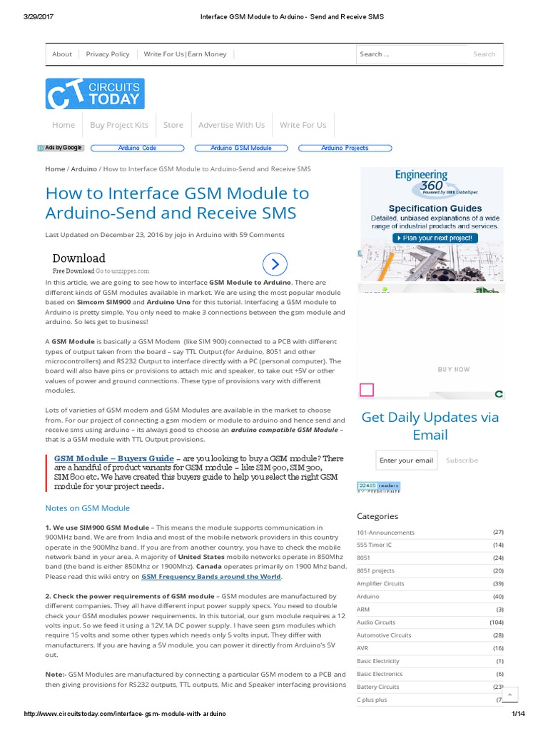 Interface GSM Module to Arduino - Send and Receive SMS | Arduino