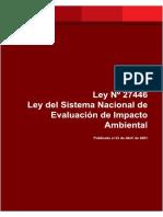 Ley 27446 Ley Del Sistema Nacional de Evaluación de Impacto Ambiental SEIA