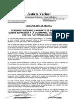 Comunicado de Prensa Nº 65 - Caso Fernando Andrade