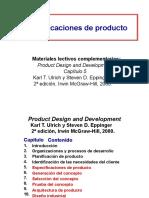 Diapositivas diseño de producto, especificaciones del producto
