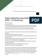 Delhi Judicial Services Main 2005 Criminal Law