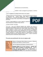 Formato para nota en página web