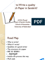 How to write a quality paper in Sanskrit?