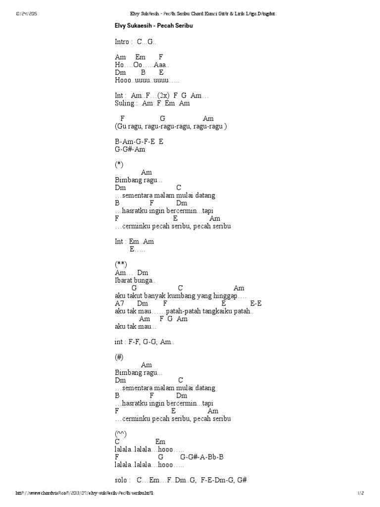 Pecah Seribu Chord Kunci Gitar Lirik Lagu Dangdut