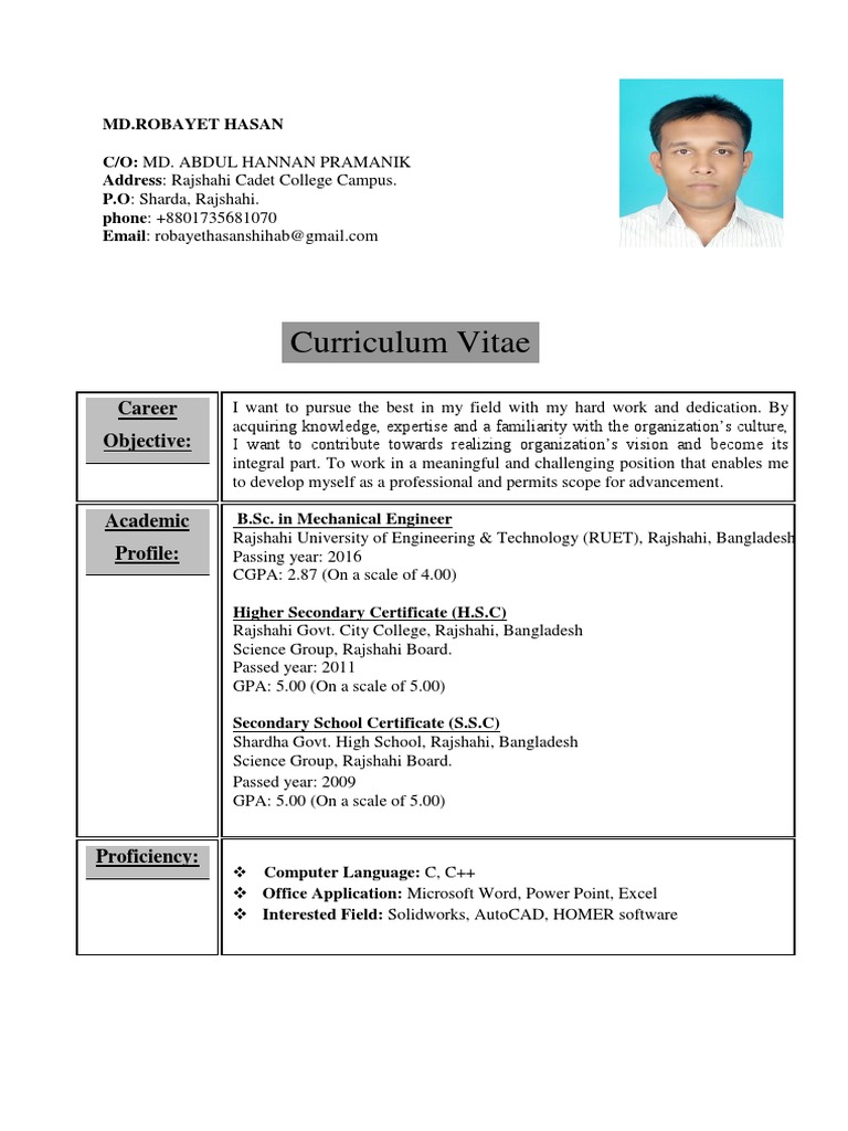 Cv Robayet Hasan Pdf Bangladesh Engineering