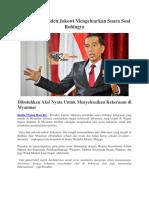 Akhirnya Presiden Jokowi Mengeluarkan Suara Soal Rohingya