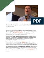 14.08.17 Moreno Valle pide que no se imponga al candidato del Frente