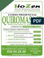 Cartel Curso  Quiromasaje  Cadiz 2017