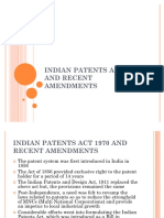 49234406 Indian Patents Act 1970 and Recent Amendments