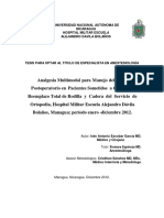 Analgesia Multimodal Para Manejo Del Dolor Postoperatorio