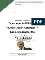 Open brief aan Wikileaks-oprichter