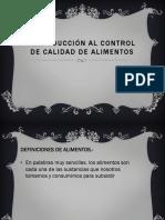 Introducción Al Control de Calidad de Alimentos
