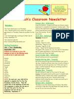 5th grade newsletter-week of 9 4 2017