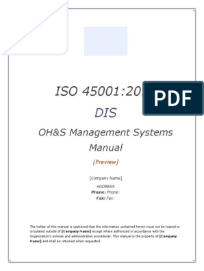ISO/DIS 45001:2017 OH&S manual (preview) | Business Process