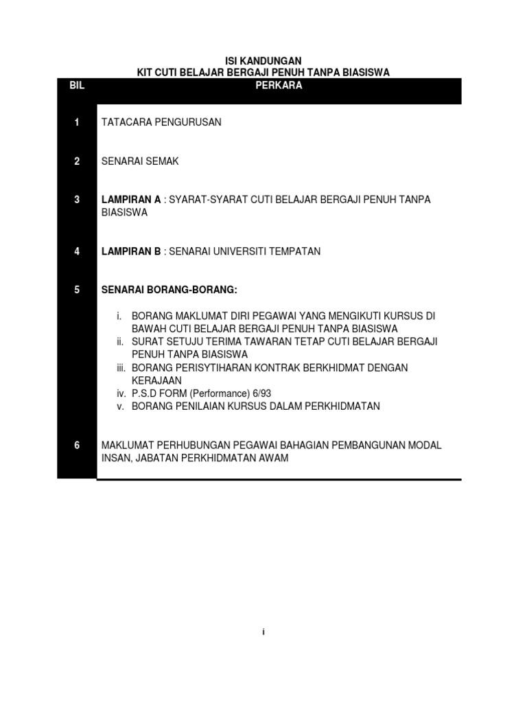 2 Kit Cbbptb Isi Kandungan Tatacara Senarai Semak