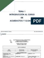 Tema 1. Introducción Al Curso Deacueductos y Cloacas