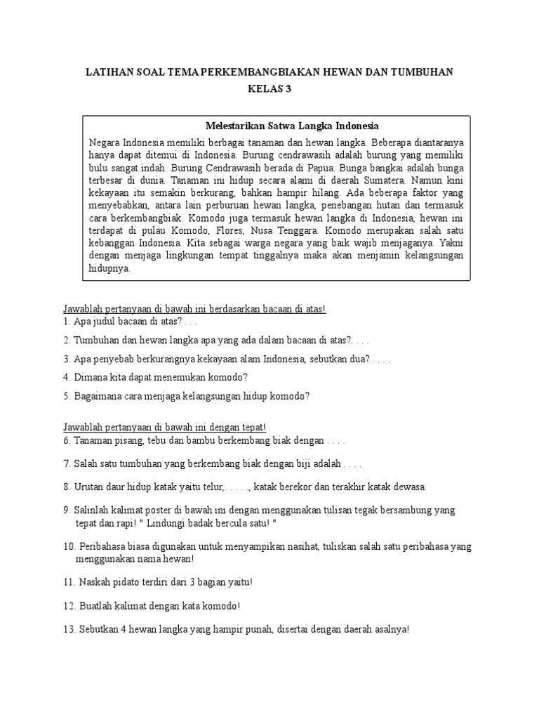 Latihan Soal Tema Perkembangbiakan Hewan Dan Tumbuhandocx
