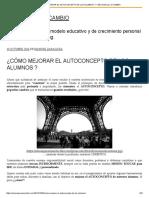 ¿Cómo Mejorar El Autoconcepto de Los Alumnos _ – Educar Para El Cambio