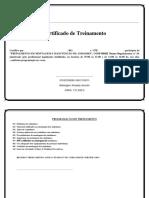 Certificado Treinamento Montador de Andaimes