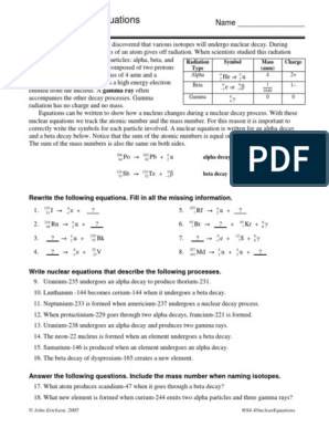 4-4NuclearEquations.pdf | Radioactive Decay | Nuclear Physics