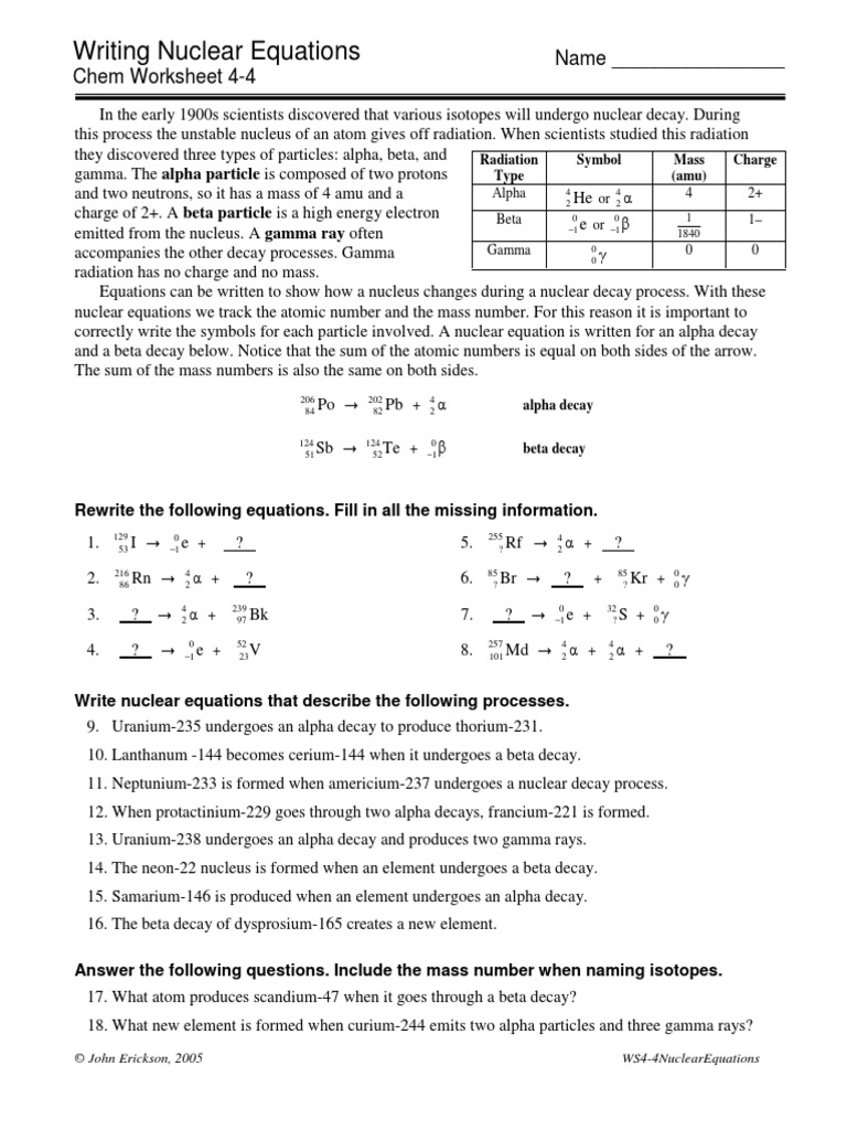 44NuclearEquationspdf Radioactive Decay – Alpha and Beta Decay Worksheet