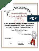 Certificado Proyectos Escolares2017 2 B
