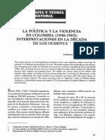 Le grand, Catherine. La Pol+¡tica y la Violencia en Colombia 1946-1965 Interpretaciones de la d+®cada de los ochentas