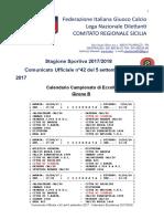 Calendario Eccellenza Girone B 2017-18
