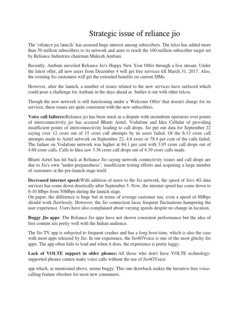 Strategic Issue of Reliance Jio - Sunit & Rishi | 4 G