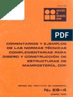 Comentarios y Ejemplos de Las Normas Técnicas Complementarias Para Diseño y Construcción de Estructuras de Mampostería, DDF