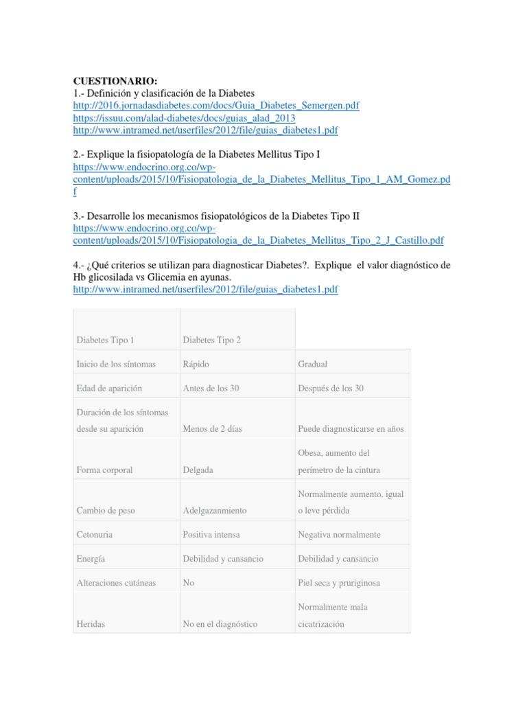 cuestionario de fisiopatología de obesidad y diabetes
