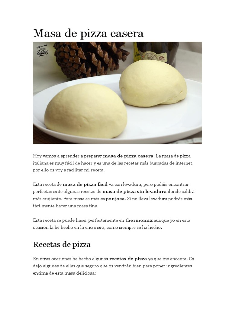 receta para la masa de pizza italiana