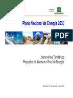 Apresentação - PNE 2030 - Projeções Do Consumo Final de Energia