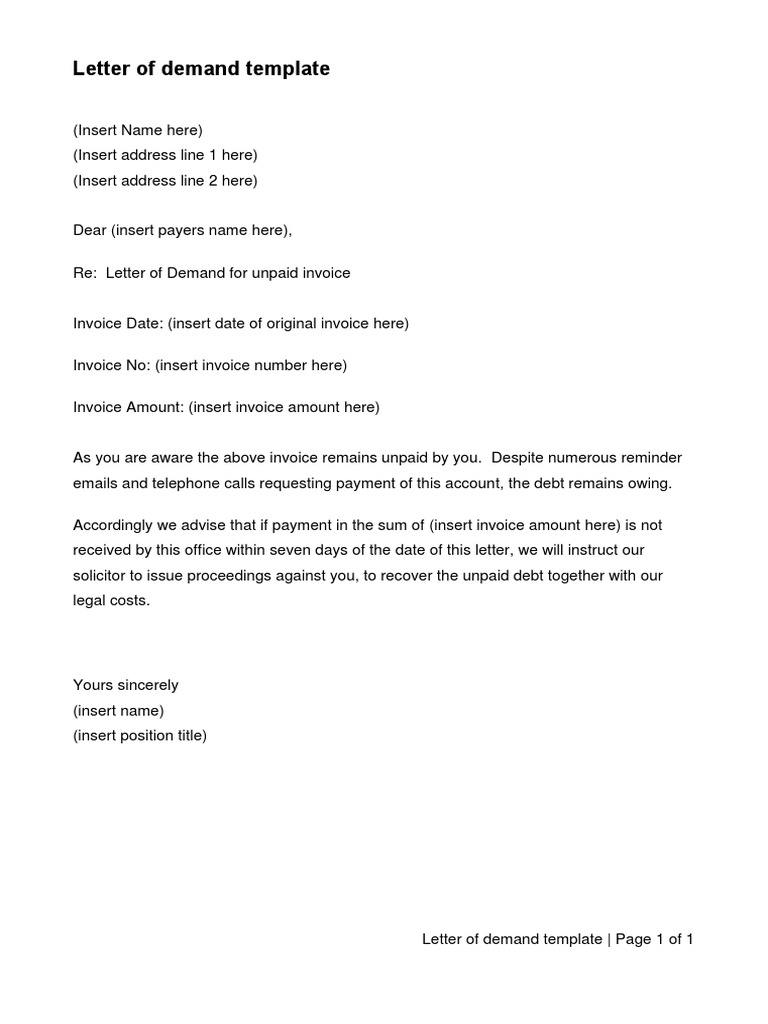 Letter Of Demand Template from imgv2-2-f.scribdassets.com