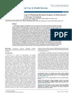 Trivedi Effect - Assessment of Antibiogram of Multidrug-Resistant Isolates of Enterobacter aerogenes after Biofield Energy Treatment