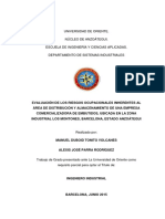 Tesis.evaluación de Los Riesgos Ocupacionales Inherentes Al Área de Distribución y Almacenamiento de Una Empresa Comercializadora de Embutidos, Ubicada en La Zona Industrial Los Montones, Barcelona