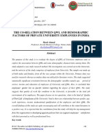 The Co-relation Between Qwl and Demographic Factors of Private University Employees in India