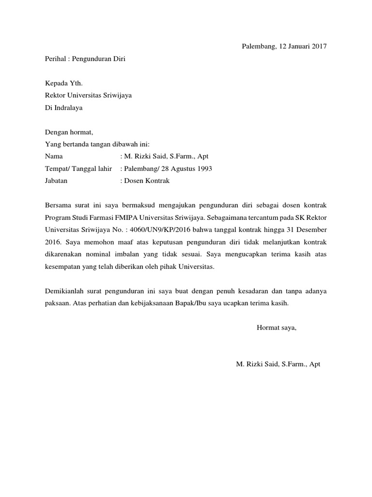 Contoh Surat Pengunduran Diri Dosen Dari Universitas ...
