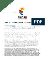 BRICS 2017 Xiamen Declaration