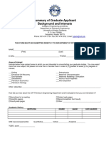PETE Admission Summary Form