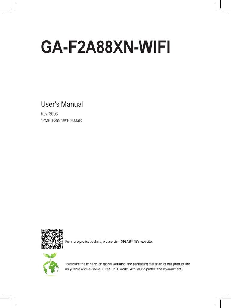 Mb Manual Ga-f2a88xn-Wifi e | Usb | Hdmi