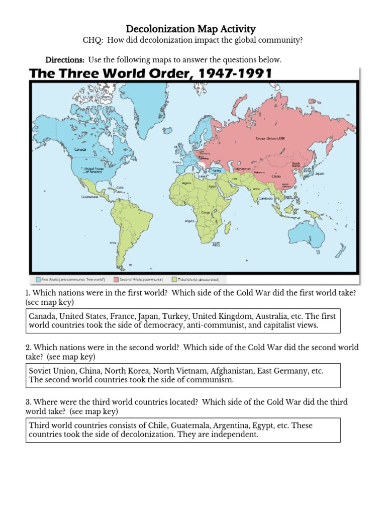 First Second Third World Map.Copy Of Karitza Vasquez Camorlinga Decolonization Map Activity Copy