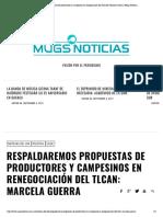 05-09-17 Respaldaremos propuestas de productores y campesinos en renegociación del TLCAN_ Marcela Guerra _ Mugs Noticias