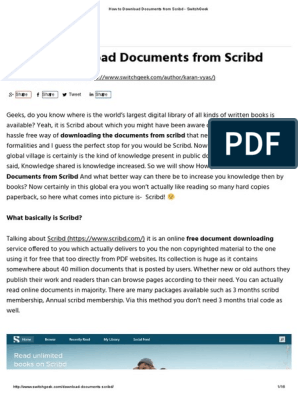 How to Download Documents From Scribd - SwitchGeek | Scribd | Web