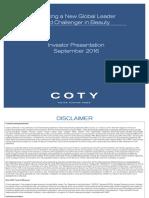 Coty - Roadshow Presentation 2016 - Final